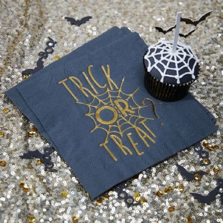 Halloween Black Trick or Treat Party Table Napkins - pack of 20